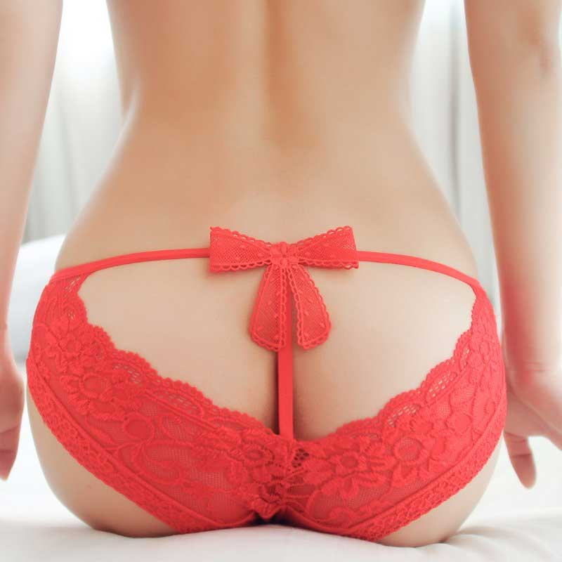 Womans Wearing Lace Coral Panties